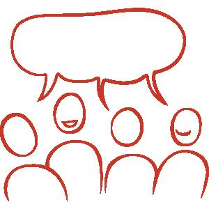 En illustration av grupp glada figurer som har dialog