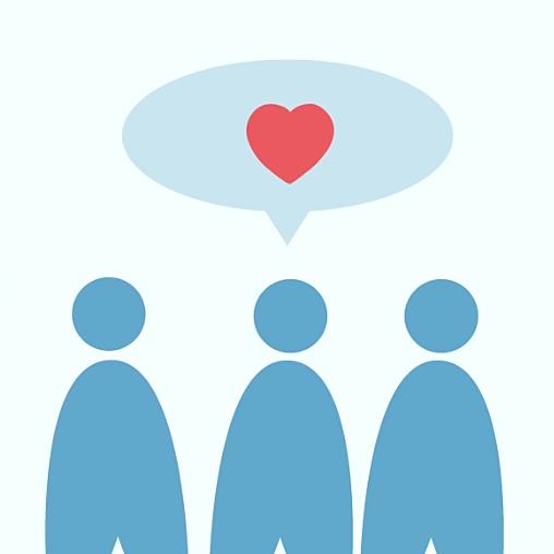 Illustration av tre personer som har en pratbubbla med ett hjärta i ovanför sig